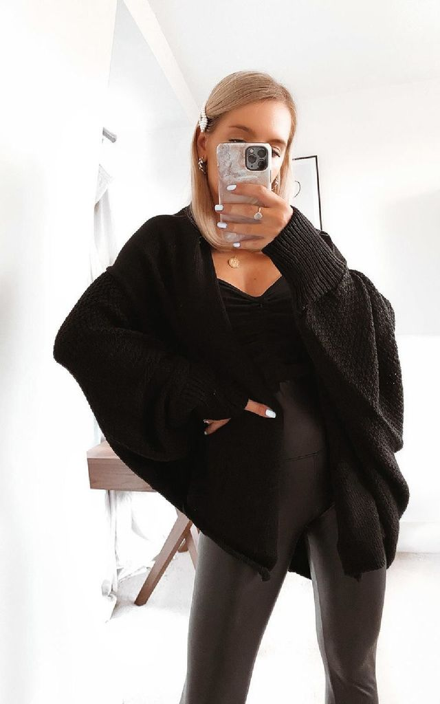 Flo Oversized Knitted Cardigan in Black by IKRUSH