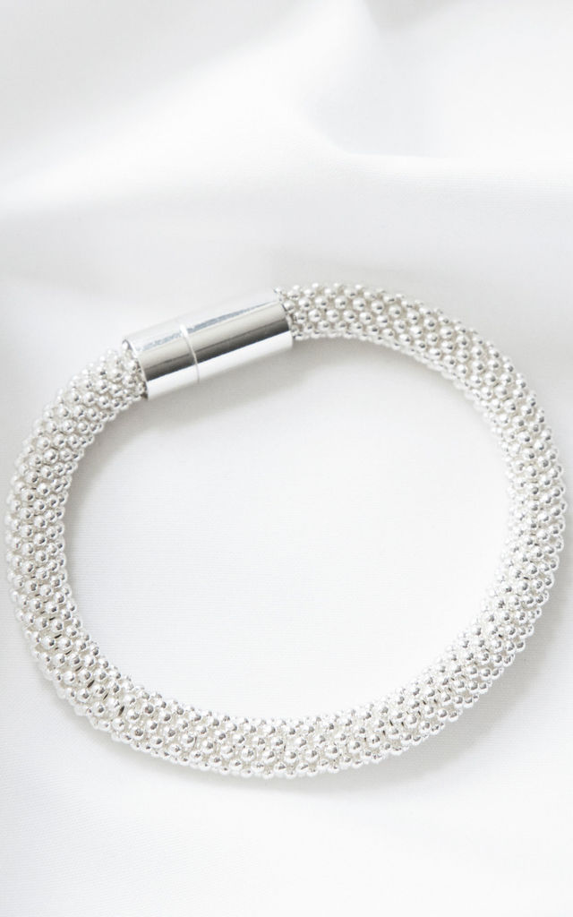 Silver bracelet with snow slice design by Always Chic