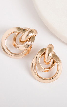 Shiny Gold Large Knot Stud Earrings by Always Chic