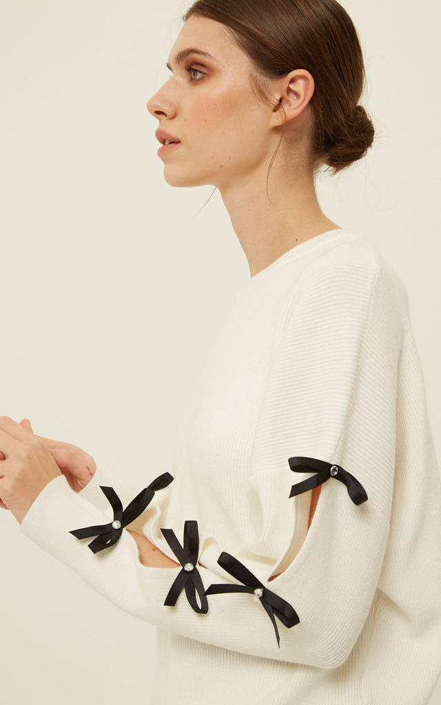 Florentine2 Jumper Bow Detail White by Jovonna London
