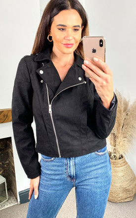 Faux Suede Biker Jacket In Black by JDY Product photo