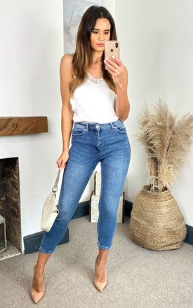 Mid Waist Straight Leg Denim Jeans In Light Blue by ONLY Product photo