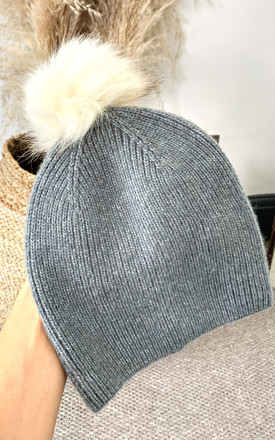 Knitted Beanie Hat With Faux Fur Pom Pom in Grey by Pieces