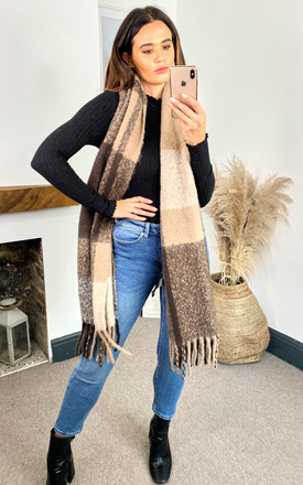 Colour Block Scarf in Brown by Pieces