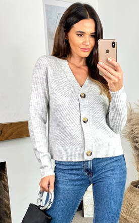 Ribbed Knitted Cardigan In Light Grey by ONLY Product photo