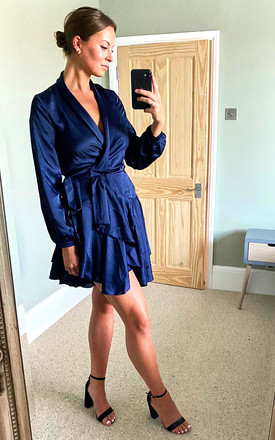 Silky Navy Wrap Dress by Another Look