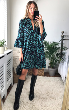 Green Animal Print Smock Tiered Mini Dress by Gini London Product photo