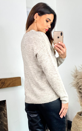 Long Sleeved V Neck Knitted Top in Beige by VM