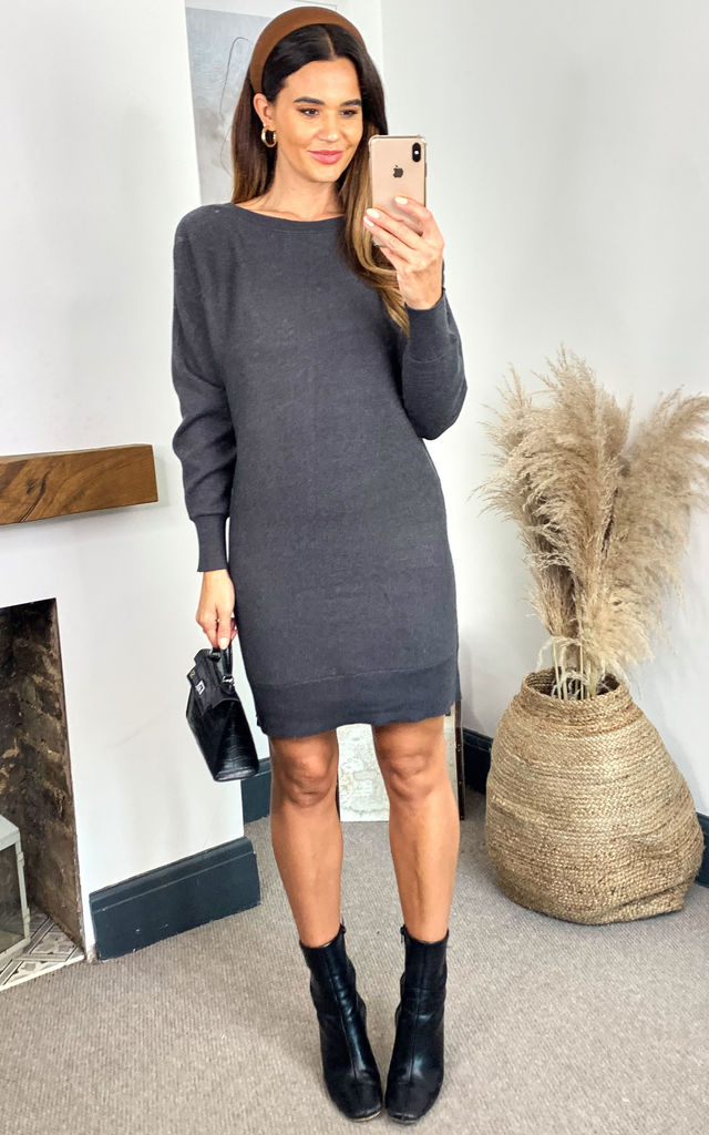 Long Sleeve Knitted Dress in Grey by Noisy May