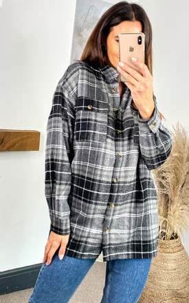 Checked Oversized Shirt In Black And Grey by Noisy May Product photo