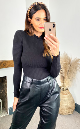 Ribbed Long Sleeve Top With High Neck In Black by Noisy May Product photo