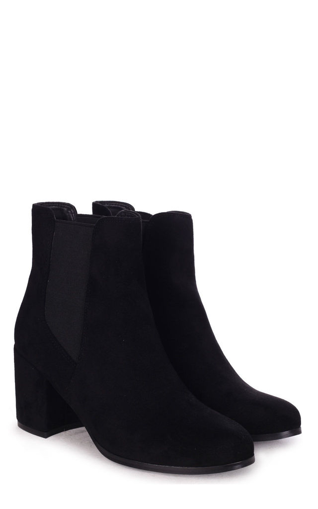 Dua Black Suede Pull On Chelsea Boot With Block Heel by Linzi