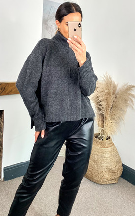 Roll Neck Knitted Top In Dark Grey by Noisy May Product photo