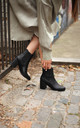 Dua Black Nappa Pull On Chelsea Boot With Block Heel by Linzi