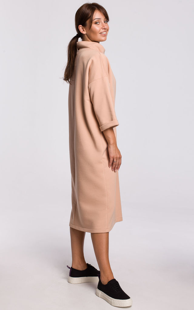 Beige Loose Midi Dress with Turtleneck and Decorative Tape by MOE
