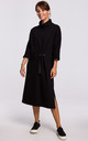 Black Loose Midi Dress with Turtleneck and Decorative Tape by MOE