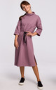 Purple Loose Midi Dress with Turtleneck and Decorative Tape by MOE
