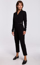 Jumpsuit with Wrap Front in Black by MOE