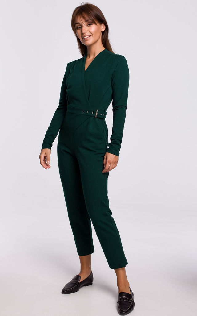 Jumpsuit with Wrap Front in Green by MOE