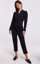 Jumpsuit with Wrap Front in Navy Blue by MOE