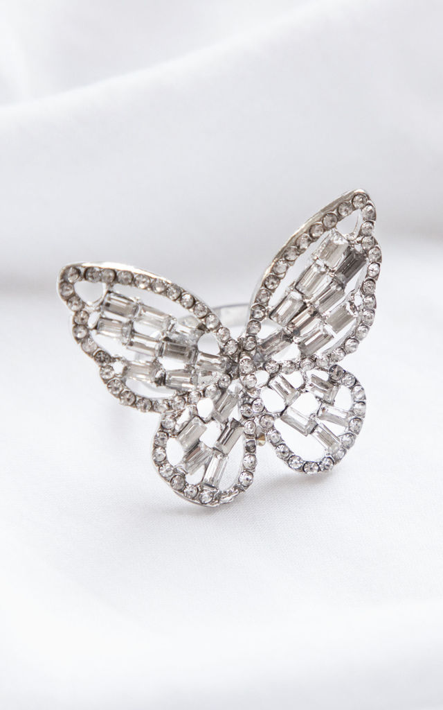 Sterling Silver Crystal Encrusted Butterfly Ring by Always Chic