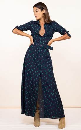 Dove Dress In Navy Cactus by Dancing Leopard Product photo
