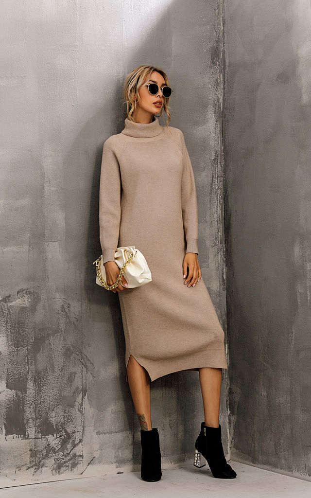 Wool Blended Jumper Dress With High Neck In Beige by FS Collection