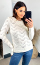 Pointelle Knitted Jumper in White by Pieces