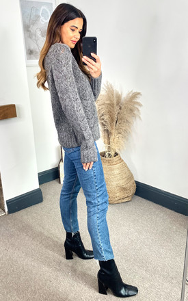 Pointelle Knitted Jumper in Grey by Pieces