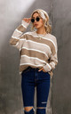 Wool Blended Striped Jumper Top In White & Beige by FS Collection
