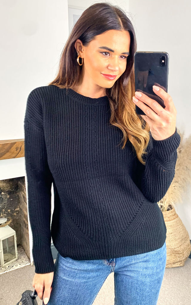 Ribbed Jumper with Eyelet Detail in Black by Pieces