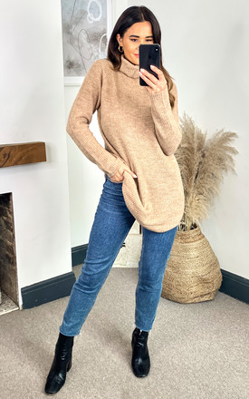 Roll Neck Knitted Tunic In Beige by Pieces Product photo