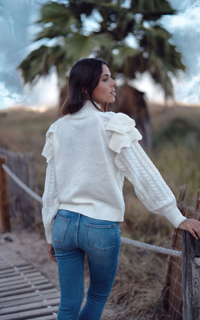Olwen white ruffle embellished knit by AMO
