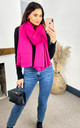 Merino Wool Blanket Scarf & Oversized Pashmina  in Fuchsia Pink by likemary