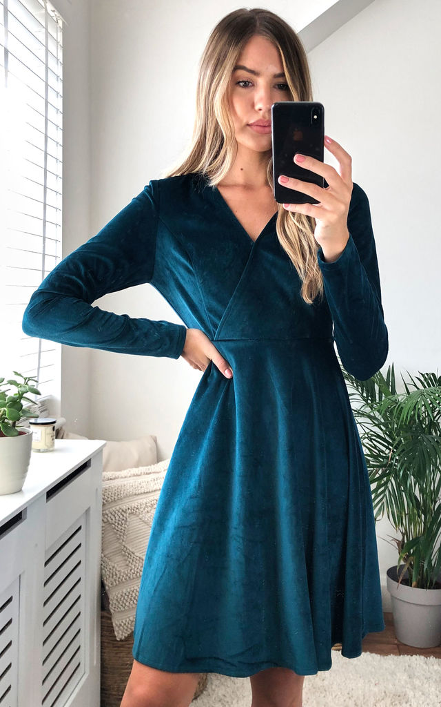 Velvet Wrap top Skater Mini Dress in Green by Gini London