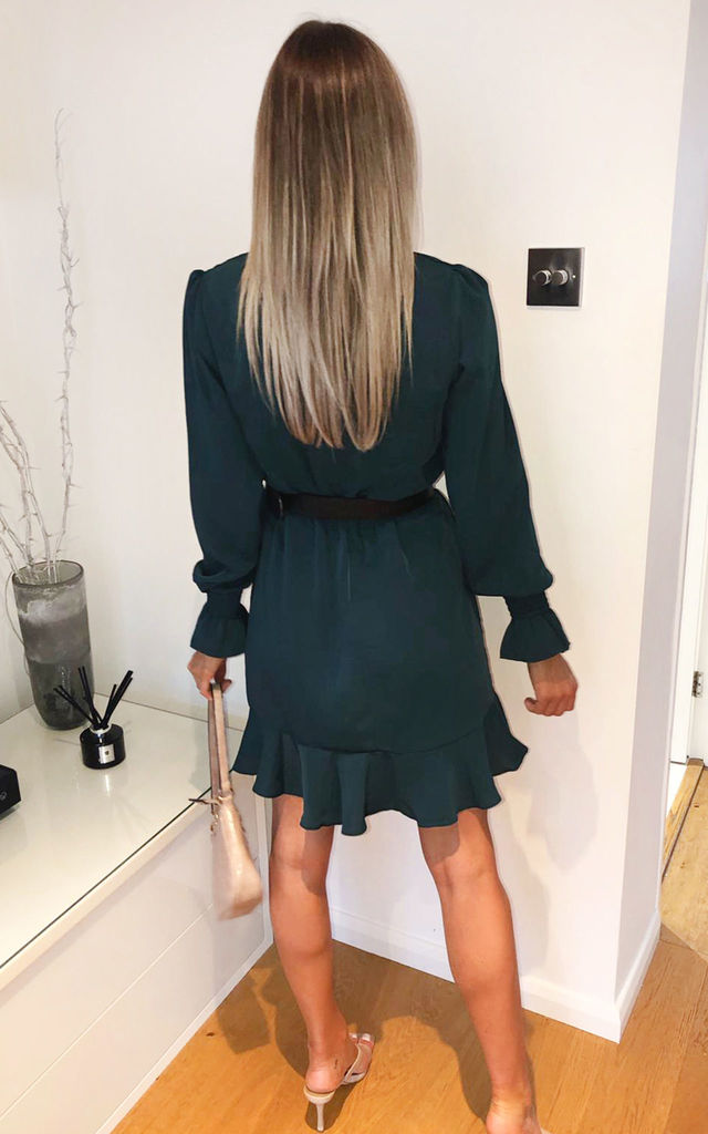 Teal Wrap Frill Hem Dress by AX Paris