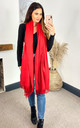 Kasa Red Oversized Merino Wool Scarf by likemary