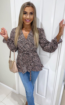 Pink Animal Print Wrap Top by AX Paris Product photo