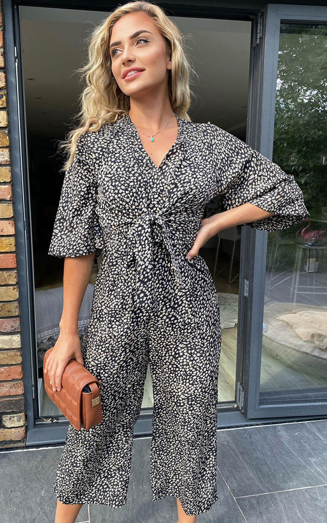 Black Aztec Tie Front Jumpsuit by AX Paris