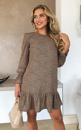 Camel Printed Frill Hem Shift Dress by AX Paris Product photo