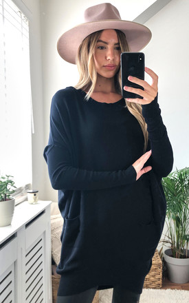 Siena Longline Boat Neck Black Knit With Pockets by Love Product photo