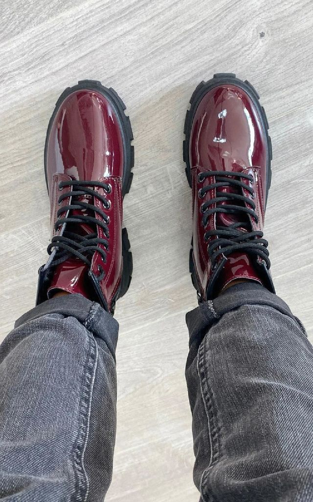 Kayla Faux Leather Patent Biker Boots in Wine by IKRUSH