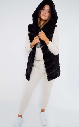 Black Faux Fur Hooded Guilet by Mimi Clothing
