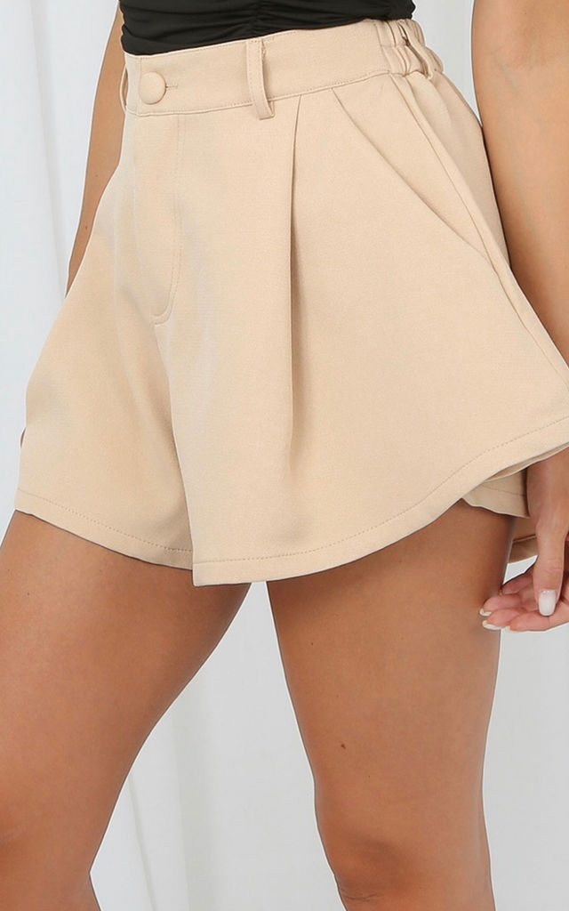 Beige Highwaisted Flare Shorts by Luxy Boutique
