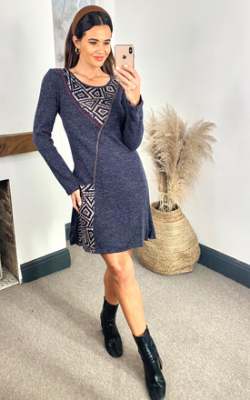 Navy Patchwork Detail Long Sleeve Dress by Izabel London