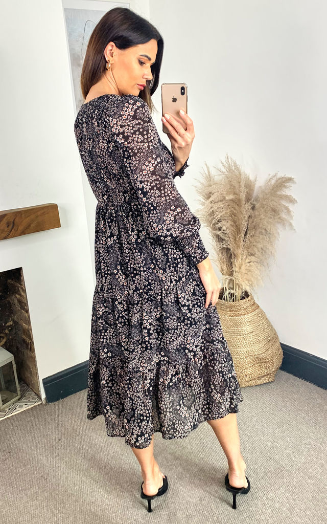 Black Ditsy Floral Long Sleeve Midi Dress by Izabel London