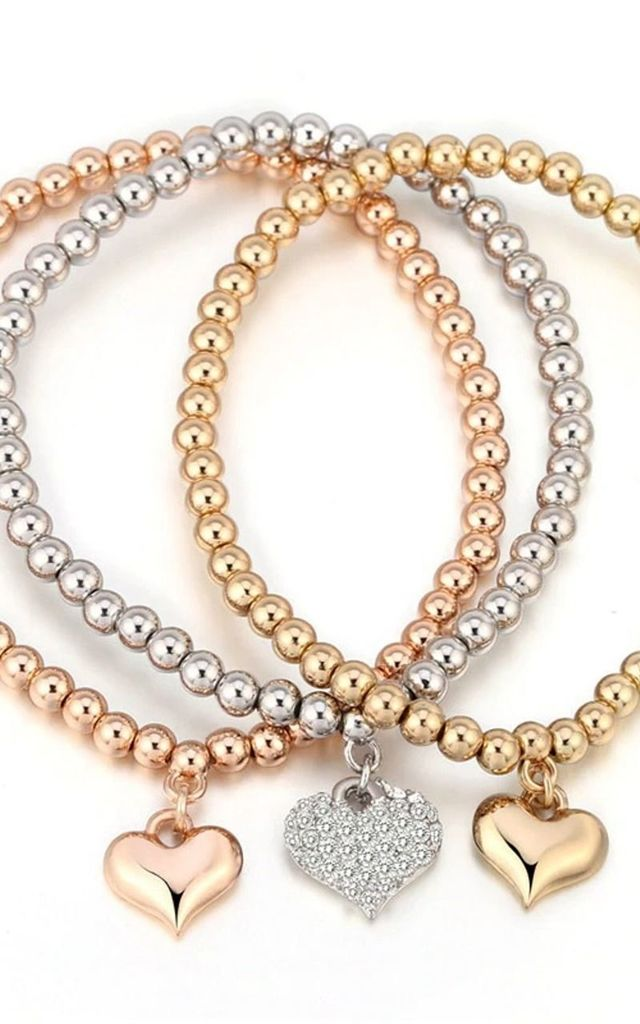 Multi-Metallic Crystal Heart Stretch Stacking Bracelet Set by Olivia Divine Jewellery