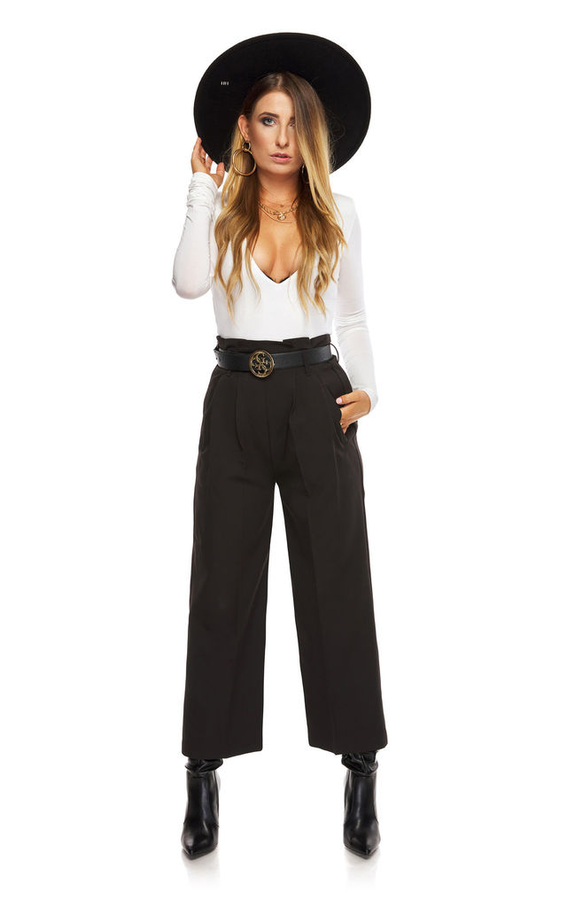 Wide Elegant Trousers with High Waist in Black by By Ooh La La
