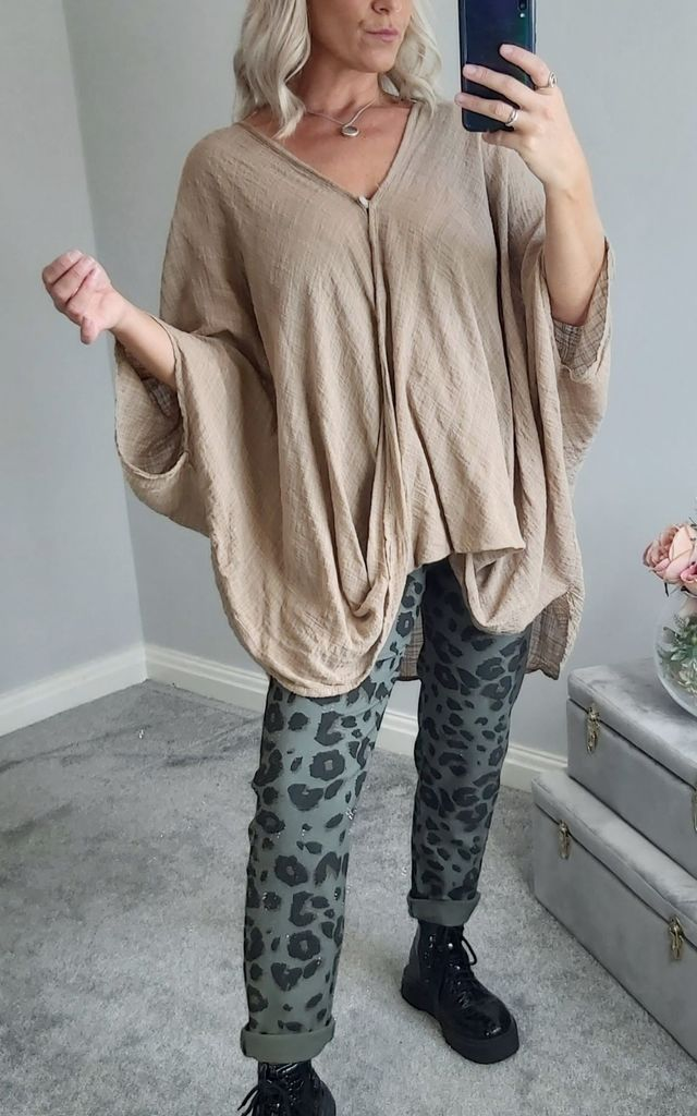Oversized Slouch Batwing Cotton Top In Beige by FOXY FROX
