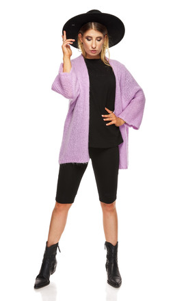 Smooth Comfortable Sweater with 3/4 Sleeve in Violet by By Ooh La La